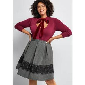 Modcloth Whirl Record A-Line Tweed Skirt